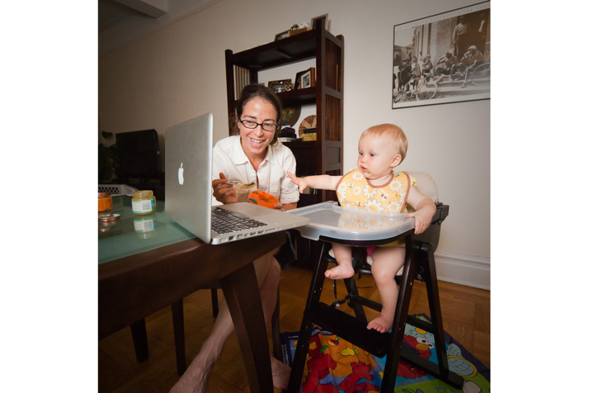 Avina Christie, a 9 months old baby  has dinner with her mother, and through a skype video call shares the time with her grandparents who live in Boston. Age: Avina 9 Months   Time: 6:57 PM    Location: Upper West, New York